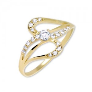 Prsten žluté zlato 585/1000 kamenový