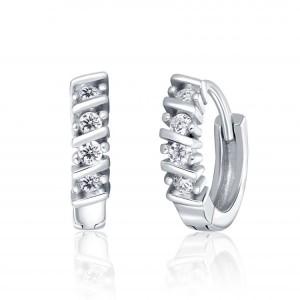 Náušnice stříbrné 925/1000 kamenové kroužek