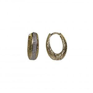 Náušnice žluté zlato 585/1000  kamenové kroužky