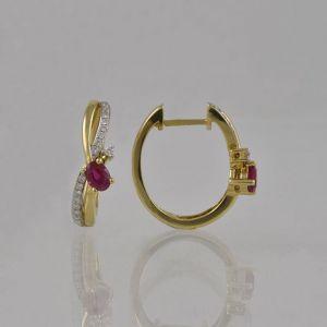 Náušnice žluté zlato 585/1000 diamantové kroužky