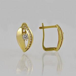 Náušnice žluté zlato 585/1000 celozlaté klapka