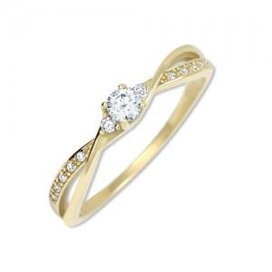 Prsten žluté zlato 585/1000 zásnubní kamenový