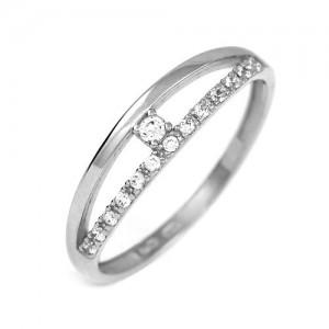 Prsten bílé zlato 585/1000 kamenový