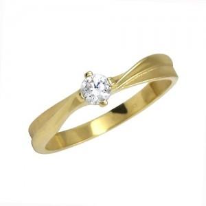Prsten žluté zlato 585/1000 zásnubní diamantový
