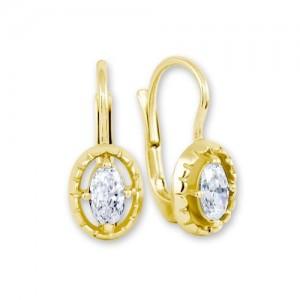 Náušnice žluté zlato 585/1000 kamenové klapka